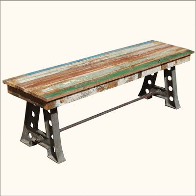 Rustic Solid Teak Wood U0026 Industrial Wrought Iron Bench Outdoor Patio  Furniture