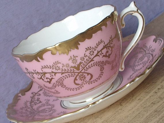 Vintage 1950's Coalport Anniversary teacup and saucer, 20th Anniversary gift, Pink tea cup set, English tea cup, Pink gold Bone china teacup