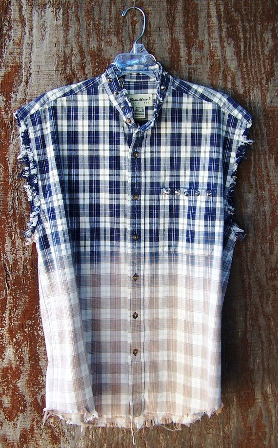 Studded collar grunge shirt half bleached blue plaid sleeveless button down oxford unisex boyfriend dip dye ombre distressed Mens Medium