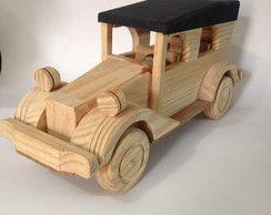 Carro de madeira-Jardineira capota preta