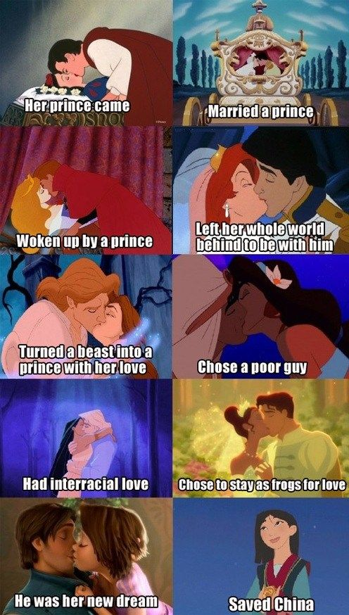 """I feel I already pinned this but I just love this person's comments: """"The point is that of all the stories, love is the single driving factor in the development of the plot. Mulan is the SOLE exception, in that love is only barely hinted at in the FINAL scene of the movie. They all depict the single climactic resolution of the story... which in literally every story except for Mulan's is love. This is recognizing that Mulan is hands-down the best Disney role model for little girls."""""""