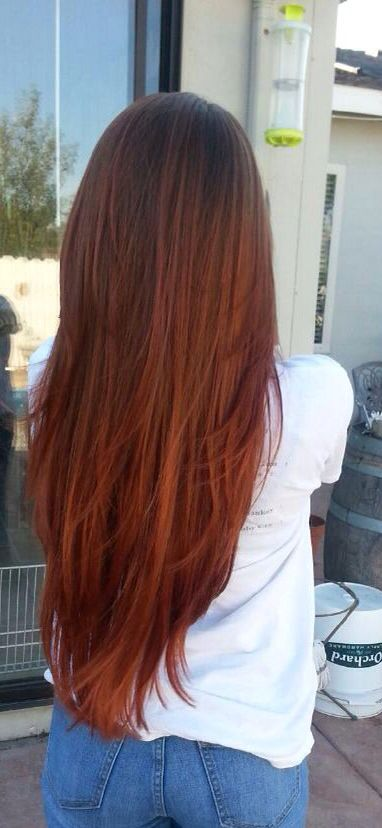 #Redheadshavemorefun Light brown to red ombre | Hair ...