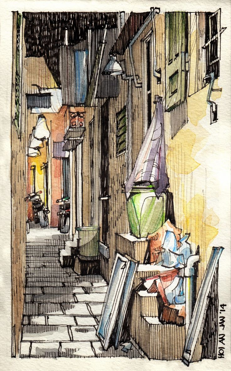 Art color rijeka - Cs Copic Marker Used To Colour Darker Shades To Create Tone And Lines Used To Create Shadows Jorge Royan Urban Sketching Alley At Night