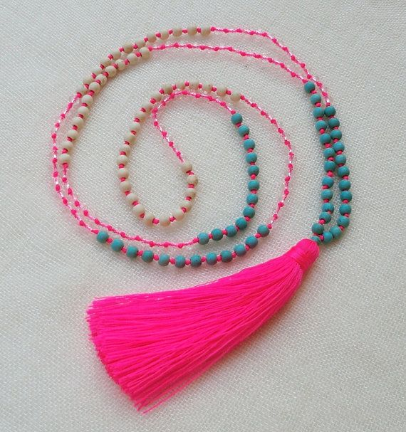 Neon pink tassel necklace with small turquoise by Brightnewpenny, $25.00. Loving these bright tassel necklaces.