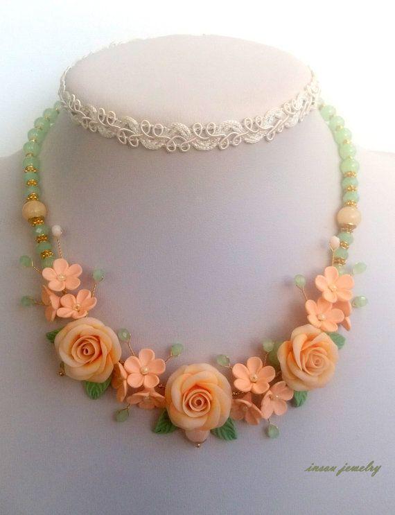 Peach jewelry  Ombre jewelry  Roses  Jade jewelry  by insoujewelry