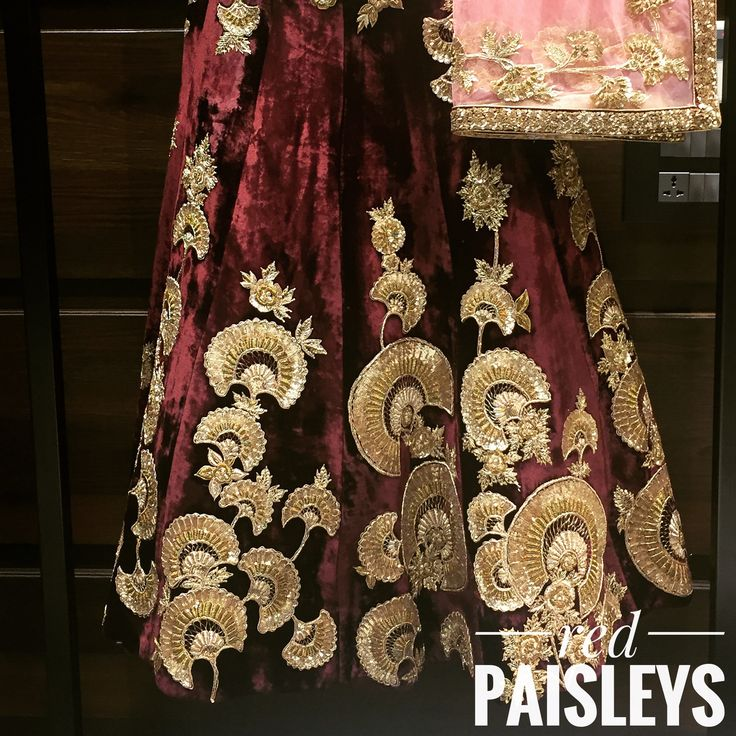 Wine and gold velvet lehenga choli. For more details 📧 info@redpaisleys.com or 📞469.248.7733
