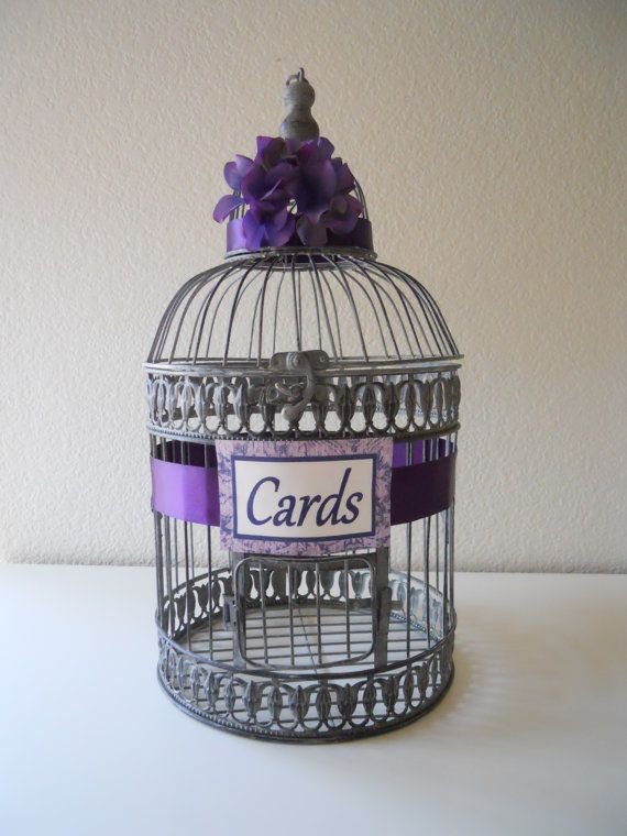 Silver, Gray Birdcage Wedding Cards Holder, Purple, Lilac, Lavender Accent, Small on Etsy, $43.99