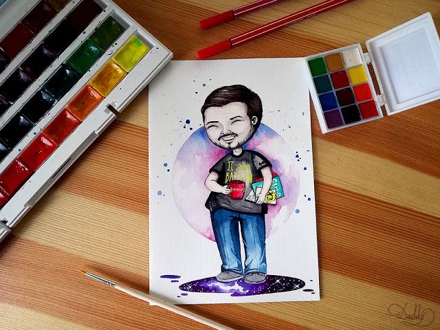 portrait by #dushky | #art #illustration #watercolor #portrait #boy #man #logo #business #startup