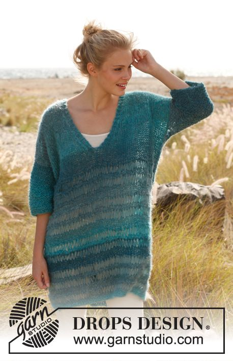 "Knitted DROPS jumper in garter st with dropped sts in ""Verdi"". Size: S - XXXL. ~ DROPS Design - free pattern"
