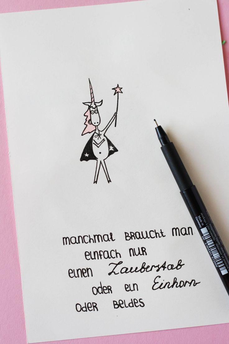 Manchmal braucht man einen Zauberstab oder ein Einhorn oder beides. Einhorn-Bild mit einem Spruch zur Motivation. Some Joys Blog.