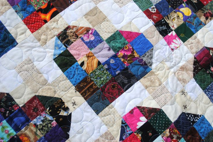 Scrappy heart quilt. The first quilt where I did the top stitching myself.