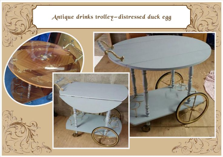 Antique drinks trolly - distressed duck egg blue