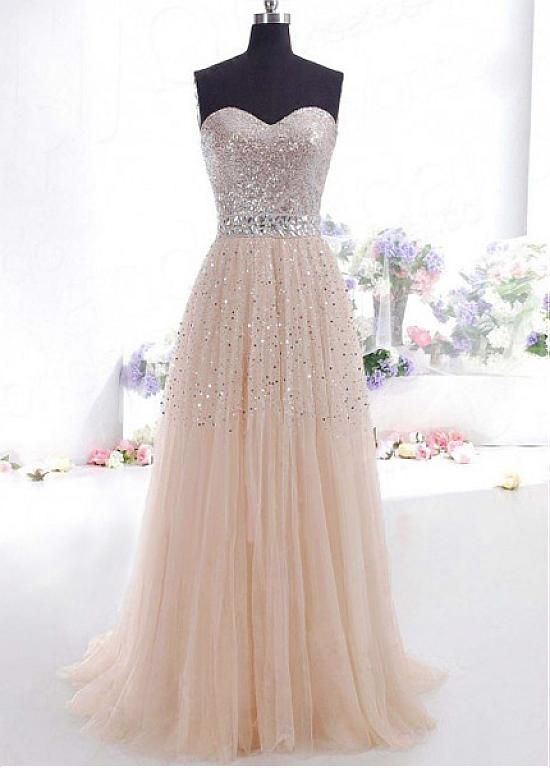 Chic Sequin Lace & Tulle Sweetheart Neckline A-line Evening Dress #selectprom