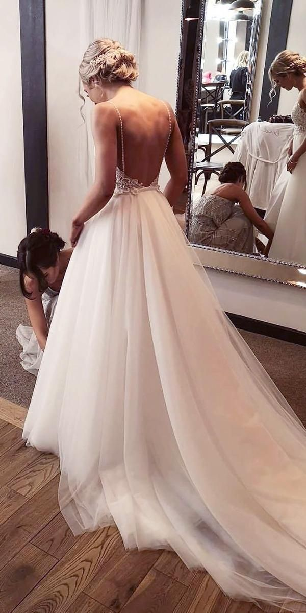 36 Gorgeous A Line Wedding Dresses A Line Wedding Dresses Low Back With Spaghetti Straps Beach Bridal Dresses Wedding Dress Low Back Backless Wedding Dress