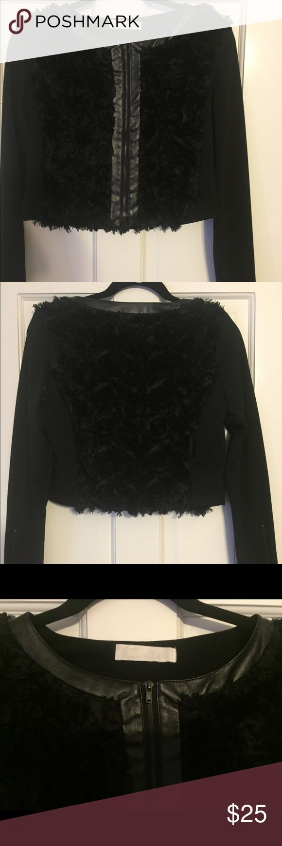Black crop jacket Black cropped jacket with decorative front and back. Can be worn with pants or with a cute dress. Sleeves have zippers down the back of the arms by the wrists. Lumiere Jackets & Coats