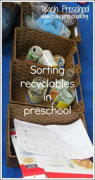 Sorting recyclables in preschool by Teach Preschool (Earth Day)