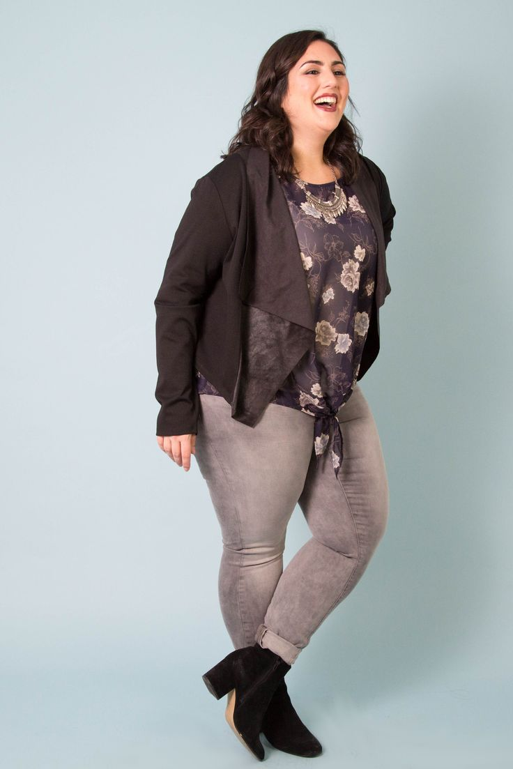 Mixing florals with a moto jacket is a perfect way to start incorporating spring into your wardrobe. #plussizefashion