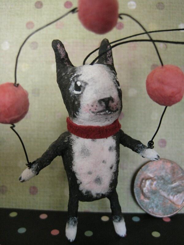 Spun Cotton Boston Terrier Ornament by Maria Pahls