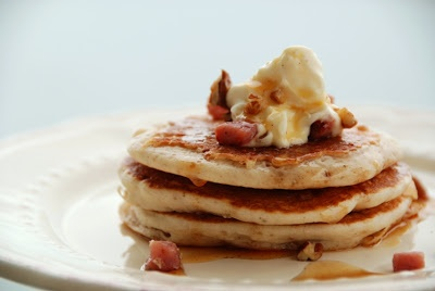 Savory Chestnut Pancakes with Pancetta and Creme Fraiche