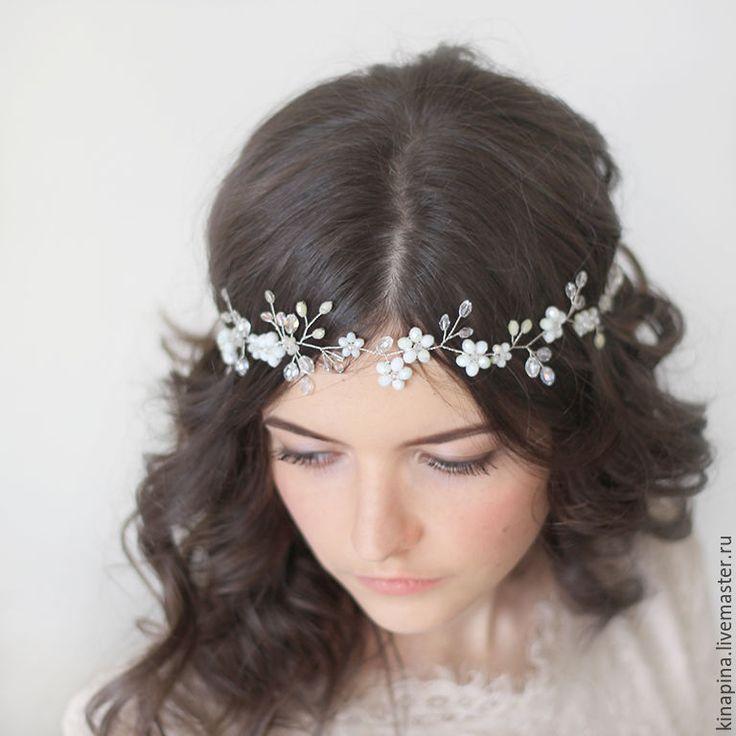 Купить Венок голову невесте из цветов.Свадебный венок для прически невесты. - свадебное украшение