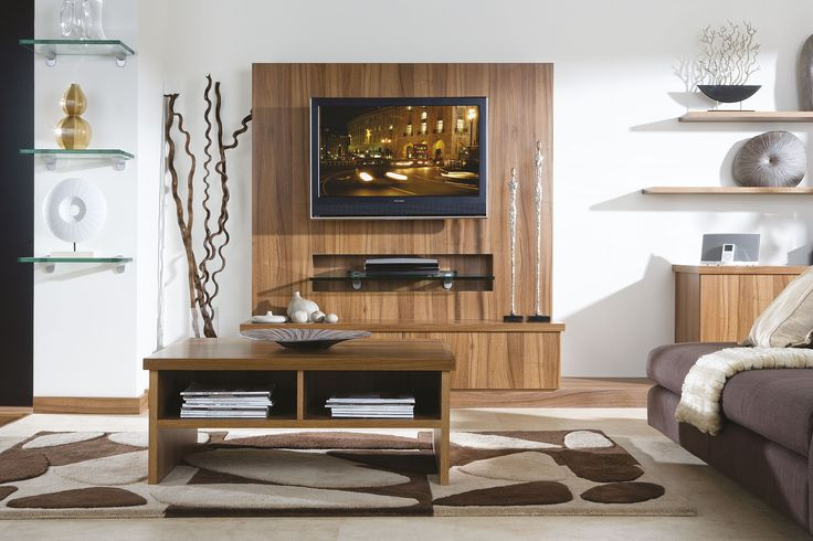 Neville Johnson - Contemporary Walnut lounge with integrated media storage
