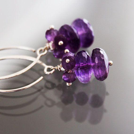 Purple Amethyst Earrings  Gemstone Drop Earrings by karioi on Etsy, $126.00 http://etsy.com/shop/karioi