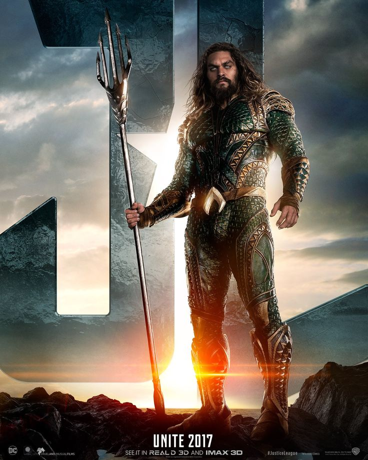 Justice League Movie Poster 2017 Arthur Curry as Aquaman in front of Justice League Logo, check out trailer breakdown before you see the movie for the first time - DigitalEntertainmentReview.com