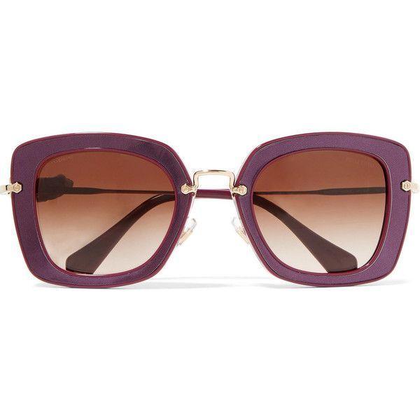 98dc917b40 Miu Miu Square-frame acetate and gold-tone sunglasses ( 210) ❤ liked