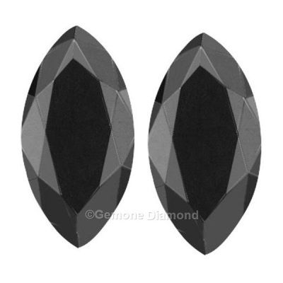 1 Carat of AAA quality natural jet black color marquise cut diamonds pair for fancy stud earrings from diamond manufacturer Gemone Diamonds.
