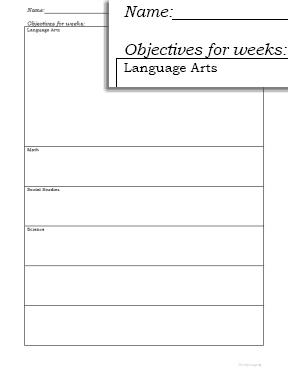Homeschool Forms: Goals and Objectives Free Printables