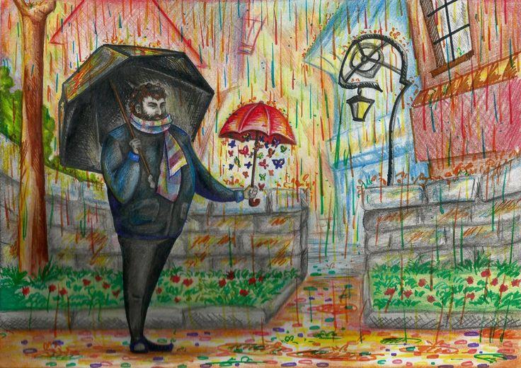 Высокий небритый толстяк стоит посреди улицы, в одной руке у него большой черный зонт, в другой — маленький красный, под которым благодарно трепещет целое облако бабочек... https://vk.com/photo-26263517_297685821