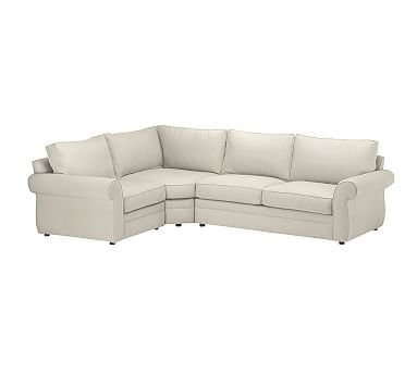 Pearce Upholstered Right Arm 3PC Wedge Sectional, Down Blend Wrapped Cushions, Washed Linen-Cotton Stone