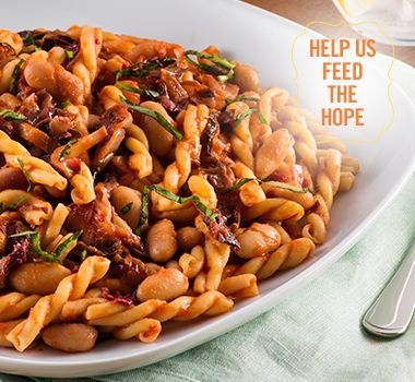 Gemelli with Calypso Bean and Crushed Tomato | For every Facebook share or download of our Pasta to the Rescue cookbook or its recipes, we're donating portions of pasta to food banks across Canada. Visit https://www.catelli.ca/en/feed-the-hope/ to learn more.