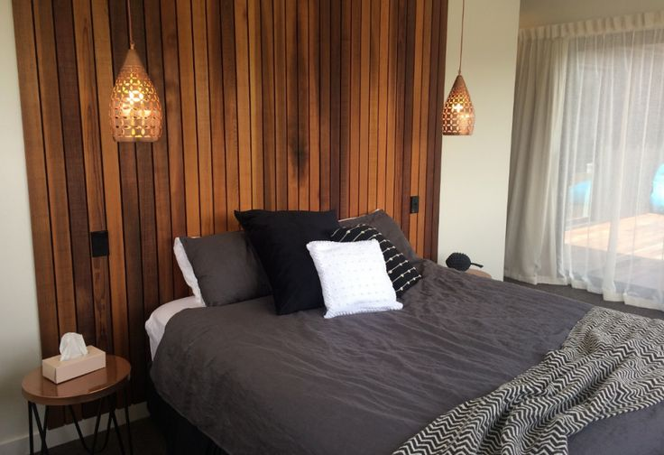 Master bedroom, cedar, bespoke, headboard, copper lights, interior