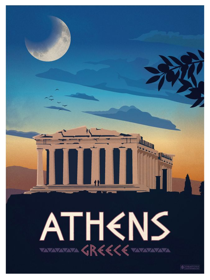 Vintage Athens Poster by IdeaStorm Media. Available for sale here www.ideastorm.bigcartel.com