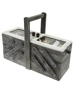 Boîte à couture en bois grise