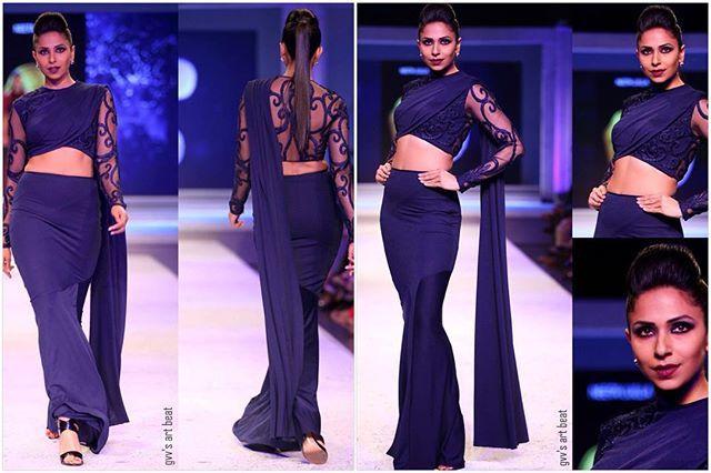 @ninjapinto in a draped crop and skirt for my show @bpft2015  #bpft #indianfashion #india #indianfusionwear #blue #lovemyjob #bodyofwork #glamour #bespoke