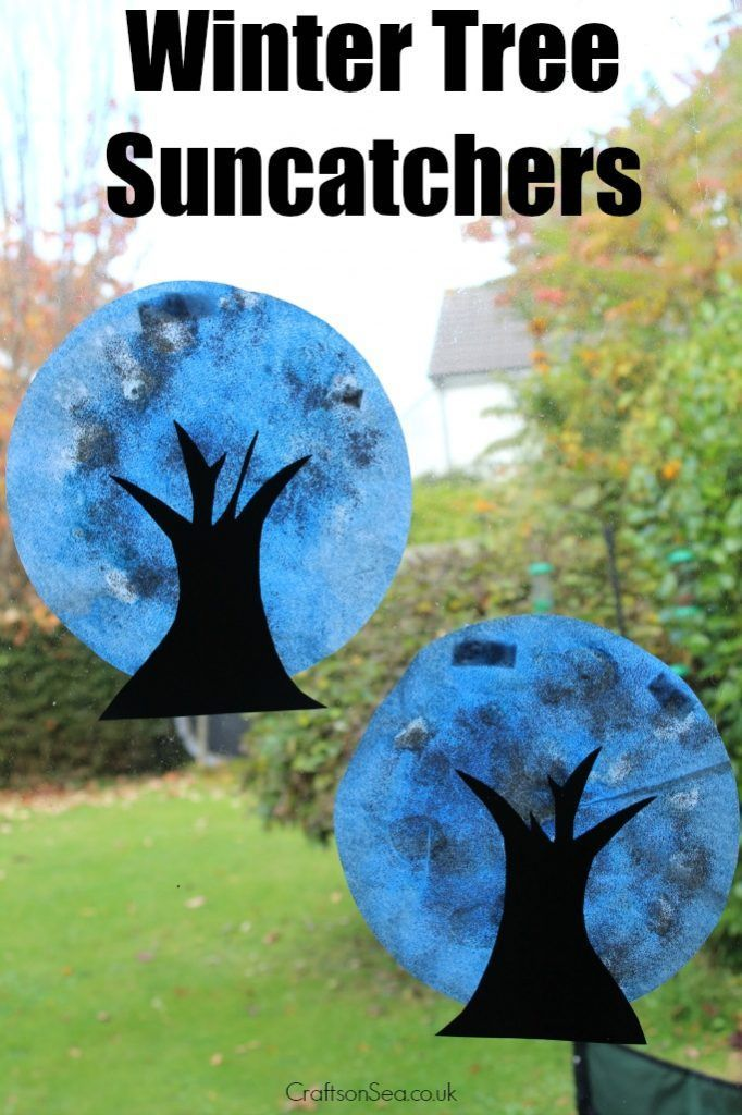 Simple but effective these winter tree suncatchers