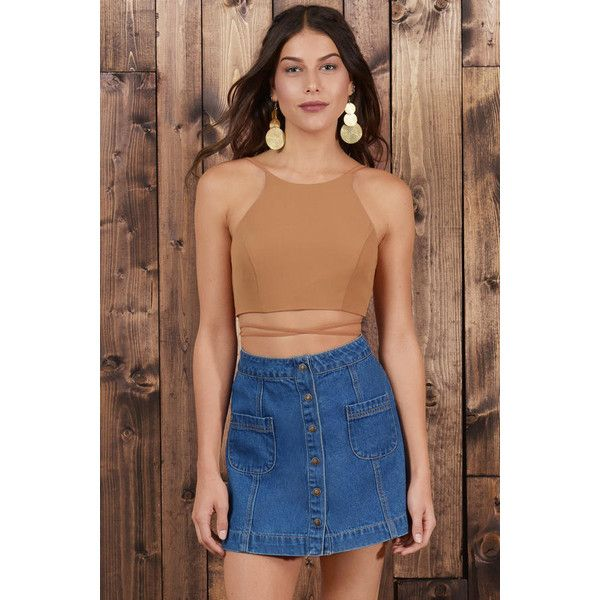 Tobi Kendall Wrap Up Crop Top ($34) ❤ liked on Polyvore featuring tops, camel, wrap around crop top, wrap style top, lace up crop top, beige top and beige crop top