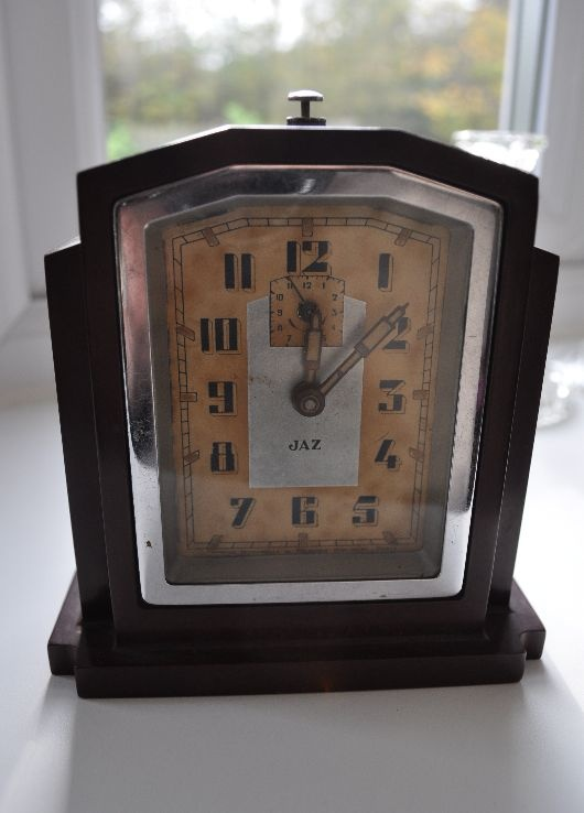 French 1930s Art Deco alarm clock