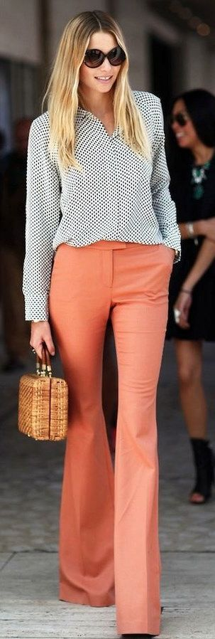 Orange Flare Trousers by Make Life Easier
