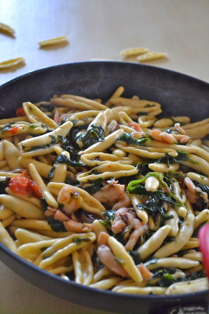 cavatelli risottati con spinaci e bocconcini di totani e seppioline