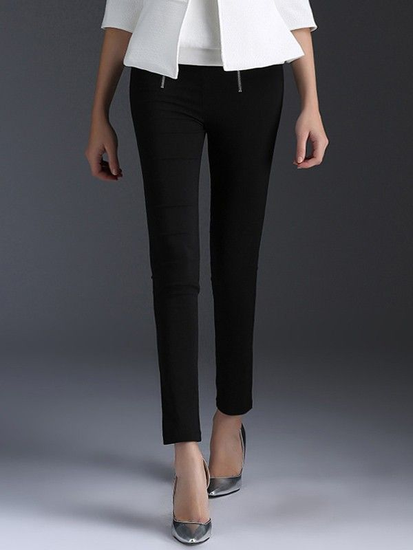 Relaxfeel Black Zippered Pencil Trousers - New In -Full of elasticity