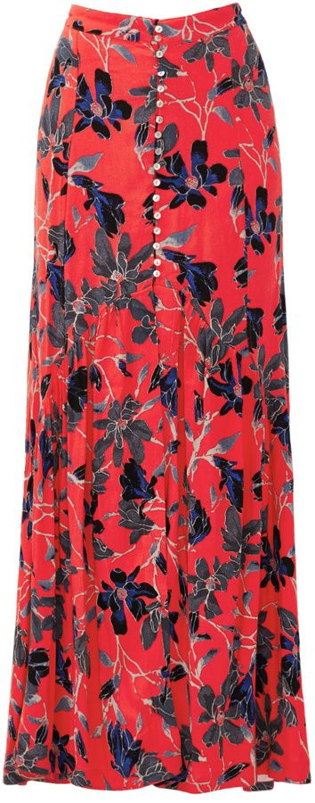 Free People Red Smooth Sailing Maxi Skirt