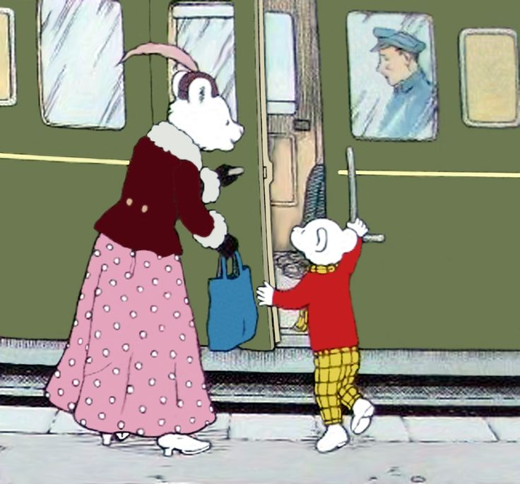Rupert Bear and his Mom catch the train