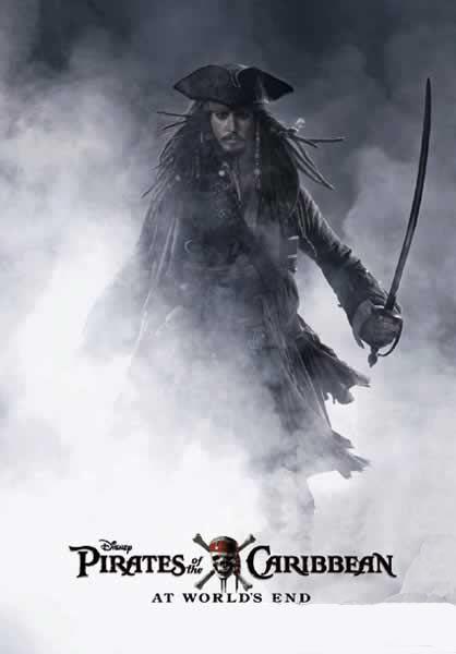 Póster Piratas del Caribe: en el fin del mundo. Jack Sparrow Póster del intrépido y aventurero Jack Sparrow, perteneciente a su tercera entrega de la saga, Piratas del Caribe.