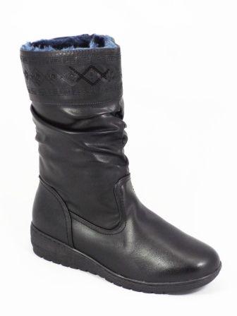 Ghete dama negre toc 3,5 cm Zonya  Acest model de ghete dama negre este fabricatdinpiele eco de calitate premium. Lainterior au o blanitacare asigura un buncomfort al piciorului. Modelul deosebit din partea superioara aacestorcizme dama negre, denota elega