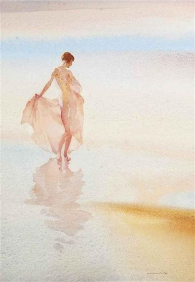 William Russell Flint - Beach Butterfly