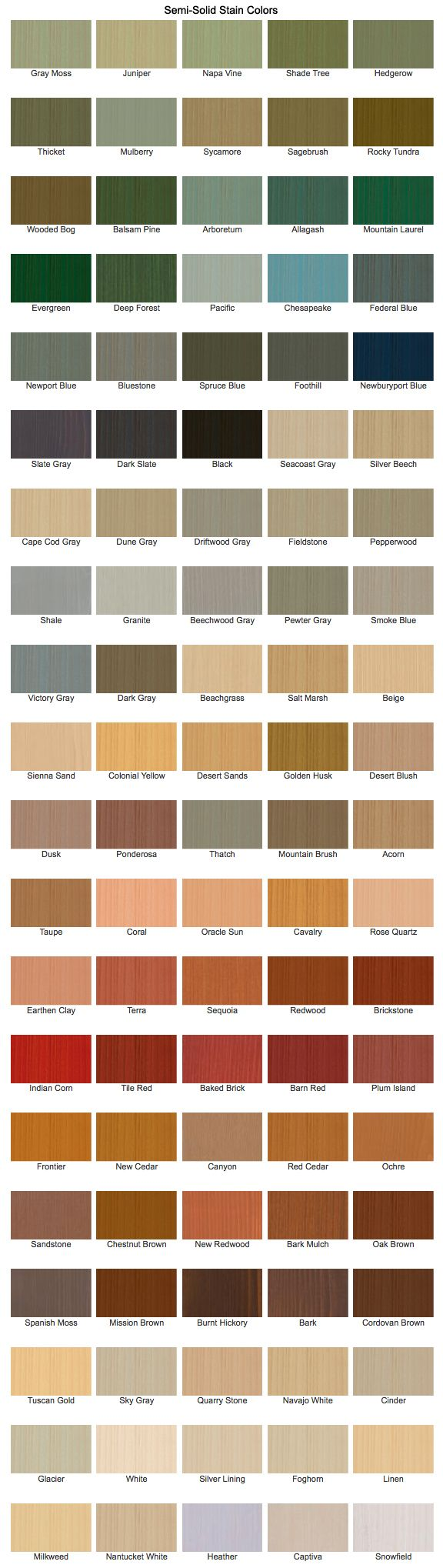 Cabot Stain offers a multitude of Semi-Solid Stain colors. http://www.cabotstain.com/products/product/Semi-Solid-Decking-Stain.html