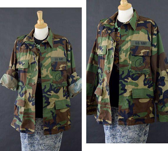 Camouflage Jacket 90s Grunge Camo Coat US Navy Seabees Camo